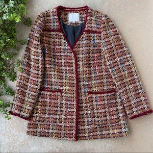 ETT TWA Anthropologie Harlequin Tweed Coat Blazer